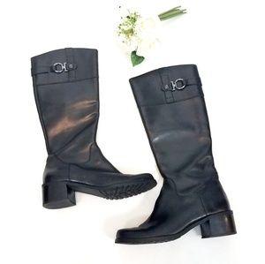 AK Anne Klein AKEVON Black Leather Riding Boots